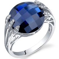 7.00 Carats Double Checkerboard Cut Blue Sapphire Sterling Silver Ring in Sizes 5 to 9 Style SR10722