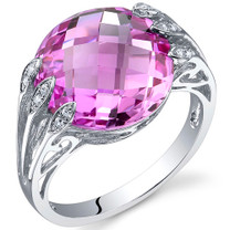 7.00 Carats Double Checkerboard Cut Pink Sapphire Sterling Silver Ring in Sizes 5 to 9 Style SR10724
