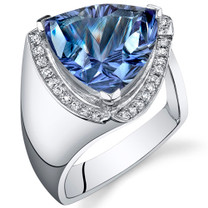 Concave Cutting 8.00 Carats Trillion Cut Alexandrite Sterling Silver Ring in Sizes 5 to 9 Style SR10754