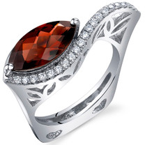 Filigree Style 3.00 Carats Marquise Cut Garnet Sterling Silver Ring in Sizes 5 to 9 Style SR10766