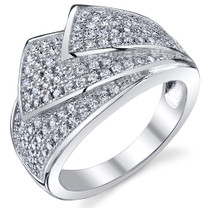 Shimmering Wave Micro Pave CZ Sterling Silver Ring Available Sizes 5 to 9 Style SR10782