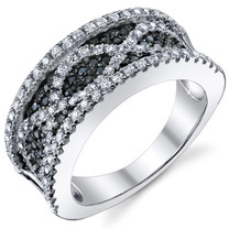 Classy Black and White CZ Sterling Silver Band Ring Available Sizes 5 to 9 Style SR10792
