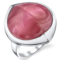 Round Fuchsia Pink Cat's Eye Sterling Silver Ring