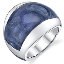 Denim Blue Cat's Eye Sterling Silver Ring