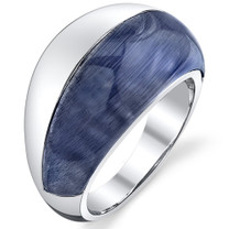 Denim Blue Cat's Eye Sterling Silver Ring SR10840