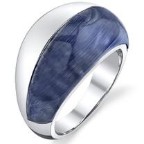 Denim Blue Cat's Eye Sterling Silver Ring SR10840
