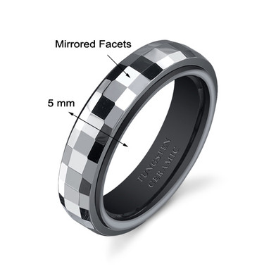Gunmetal Color Faceted 5mm Womens Tungsten Ceramic Wedding Band