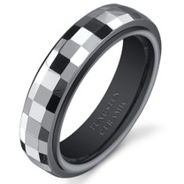 Gunmetal Color Faceted 5mm Womens Tungsten Ceramic Ring