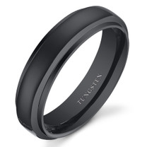 Black Color Rounded Top 6mm Mens and Womens Tungsten Ring in Sizes 5 to 13 Style SR10848