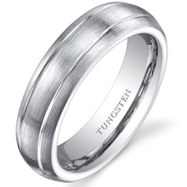 Double Groove Brushed Finish 5mm Womens White Tungsten Ring