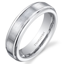 Flat Edge Brushed Finish 5mm Womens White Tungsten Ring