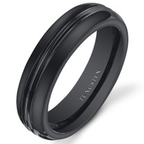 Double Groove 5mm Womens Black Tungsten Ring