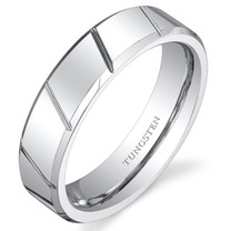 Diagonal Notches 6mm Mens and Womens White Tungsten Ring in Sizes 5 to 13 Style SR10874