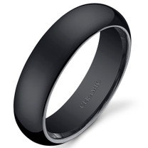 Classy 6mm Dome Style Mens and Womens Black Ceramic Ring in Sizes 5 to 13 Style SR10886
