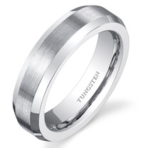 Beveled Edge Brushed Center 5mm Womens White Tungsten Ring