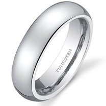 Classy 5mm Dome Style Womens White Tungsten Ring