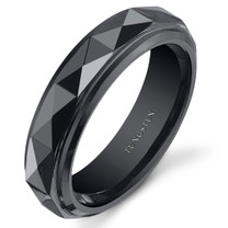 Faceted 5mm Womens Black Tungsten Ring