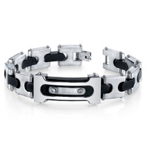 Mens Double Riveted Black Two Tone Stainless Steel Bracelet Style SB4236