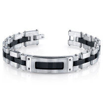 Mens Riveted Industrial Black and Two Tone Stainless Steel Bracelet Style SB4240