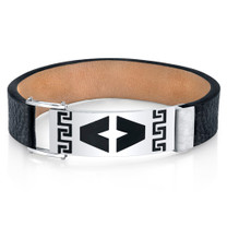 Mens Greek Key Black Genuine Leather and Stainless Steel Bracelet Style SB4248