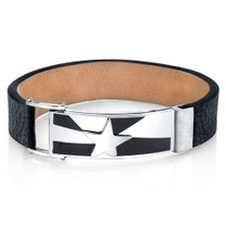 Mens Shooting Star Black Genuine Leather and Stainless Steel Bracelet Style SB4254