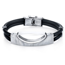 Mens Art Deco Stainless Steel and Black Silicon Bracelet Style SB4268