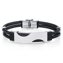 Mens Minimalist Stainless Steel and Black Silicon Bracelet Style SB4270