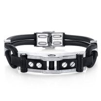 Mens Industrial Design Stainless Steel and Black Silicon Bracelet Style SB4272