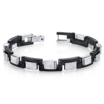Mens Zig Zag Link Black and Brushed Stainless Steel Bracelet Style SB4278