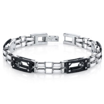 Mens Intricate Double Chain Design Stainless Steel Bracelet Style SB4280