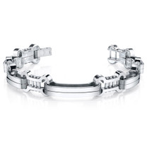 Mens Curved Link Mirror Finish Stainless Steel Bracelet Style SB4284