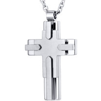 Multi-Layered Two Tone Strainles Steel Cross Pendant With 22 inch Chain Style SN10842