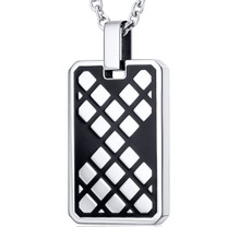 Modern Mosaic Design Black Stainless Steel Dog Tag Style Pendant With 22 inch Chain Style SN10844