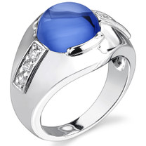 Mens 7.00 Carats Round Cabochon Blue Sapphire Ring in Sterling Silver Available Sizes 8 to 13 Style SR10776