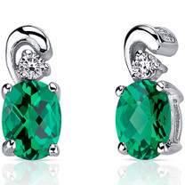 Sleek and Radiant 1.50 Carats Emerald Earrings in Sterling Silver Style SE8224