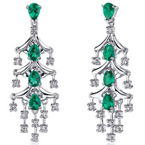 Captivating Seduction 4.00 Carats Emerald Dangle Earrings in Sterling Silver Style SE8226