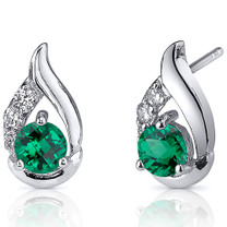 Radiant Teardrop 1.00 Carats Emerald Round Cut Earrings in Sterling Silver Style SE8232