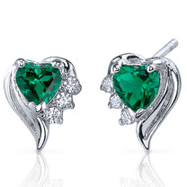 Cupids Grace 1.00 Carats Emerald Heart Shape Earrings in Sterling Silver Style SE8234