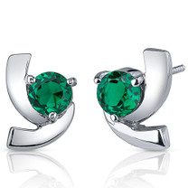 Illuminating 1.50 Carats Emerald Round Cut Earrings in Sterling Silver Style SE8236