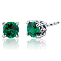 Scroll Design 1.50 Carats Emerald Round Cut Stud Earrings in Sterling Silver  Style SE8240