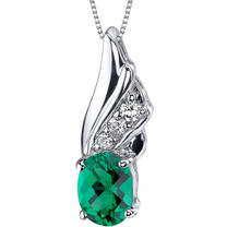 Graceful Angel 1.00 carats Oval Shape Sterling Silver Emerald Pendant Style SP10748