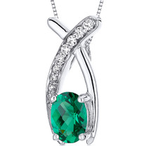 Lucid Elegance 0.75 carats Oval Cut Sterling Silver Emerald Pendant with 18 inch Chain Style SP10752