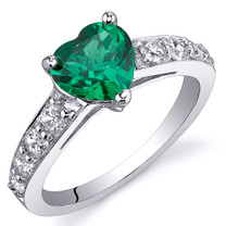 Dazzling Love 1.00 Carats Emerald Ring in Sterling Silver Available Sizes 5 to 9 Style SR10806