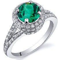 Majestic Sensation 1.25 Carats Emerald Ring in Sterling Silver Available Sizes 5 to 9 Style SR10810