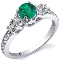 Enchanting 0.50 Carats Emerald Ring in Sterling Silver Available Sizes 5 to 9 Style SR10812