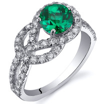 Gracefully Exquisite 0.75 Carats Emerald Ring in Sterling Silver Available Sizes 5 to 9 Style SR10816