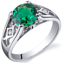 Cathedral Design 1.25 carats Emerald Solitaire Ring in Sterling Silver Available in Size 5 to 9  Style SR10818
