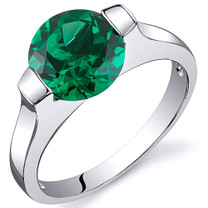 Bezel Set 1.75 carats Emerald Ring in Sterling Silver Available in Sizes 5 to 9  Style SR10824