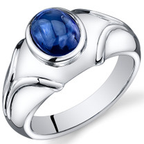 Mens 3.50 Carats Oval Cabochon Blue Sapphire Sterling Silver Ring Sizes 8 To 13 SR10908