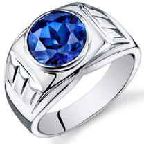 Mens 5.50 Carats Round Cut Blue Sapphire Sterling Silver Ring Sizes 8 To 13 SR10934
